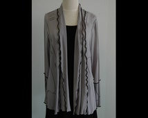 Gray Modal Jersey Jacket size L Hand dyed Fabric