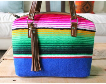 Lola bag - bucket bag - sarape fabric bag - mexican fabric bag - Southwestern bag - handmade handbag