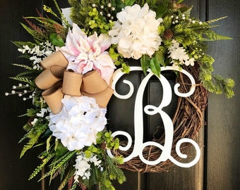 Winter Wreath for Front Door, Christmas Wreaths, Holiday Door Wreaths, Front door wreath, Grapevine Door Wreath, Monogram