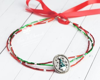 Christmas Headband - Beaded Christmas Tree Headband - Holiday Headband - Tie Headband - Hairband - Christmas Hair Piece