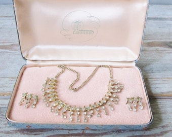 Spiral Rhinestone Necklace and Earring Set