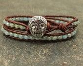 Silver Turquoise Sugar Skull Bracelet Unique Leather Sugar Skull Jewelry
