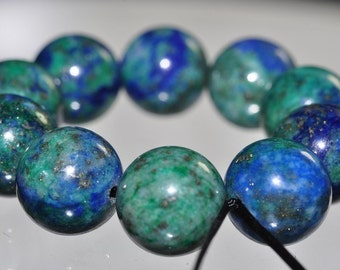 Listed @ 25% Off Sale Was 14.25---10 Pieces 10mm Lovely~Natural Lapis MALACHITE CHRYSOCOLLA CHESSYLITE Round Beads - F0983