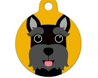 Pet ID Tag - Black Mini Schnauzer Pet Tag, Dog Tag