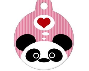 Pet ID Tag - Panda Love (pink)  Pet Tag, Dog Tag, Cat Tag