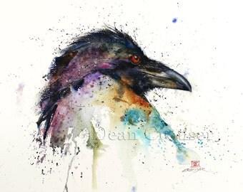 RAVEN Watercolor Bird Print, Raven Art, Watercolor Bird,  by Dean Crouser
