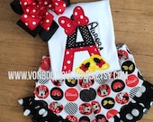Red black yellow Bow mouse shoes Ruffle Shorts Matching Boutique Hairbow Girls Short Long Shirt Tank Top 6 9 12 18 months 2T 3T 4T 5T 6 8 10