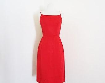 SHOP CLOSING SALE La Mas Desiada... vintage 1950's Jo White lipstick red acetate bad girl wiggle dress
