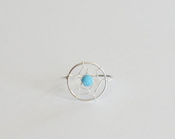 Sterling Silver Dream Catcher Ring, Size 5, Reconstructed Turquoise, Birthday Gift, Mother's Gift, Kids Gift