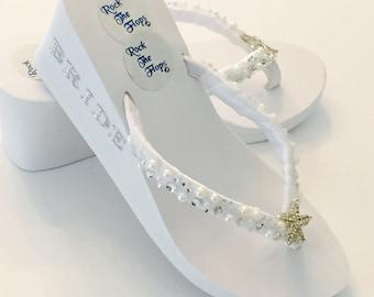 "3"" BRIDAL WEDGES.White Wedding Flip Flops. Bridal FlipFlops.Wedding Shoes.Bridal Shoes.Rhinestone Bridal Shoes.Beach Wedding.High Wedges.!"