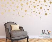 Gold Confetti Dots Wall Decals for Baby Nursery - mixed sizes Peel & Stick wall decals