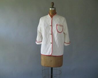 Plus Size 1950s Bed Jacket -50s Cream Gold Quilted Jacket - Vintage Short Jacket