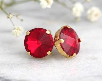 Ruby Earrings, Ruby Red Swarovski Crystal Earrings, Bridesmaids Earrings, Gift For Her, Round Crystal Earrings, Ruby Stud Earrings