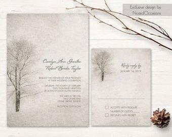 Winter Wedding Invitation Printable Christmas Wedding invitation and RSVP Card tree wedding Rustic Winter Tree Woodland DIY Digital Template