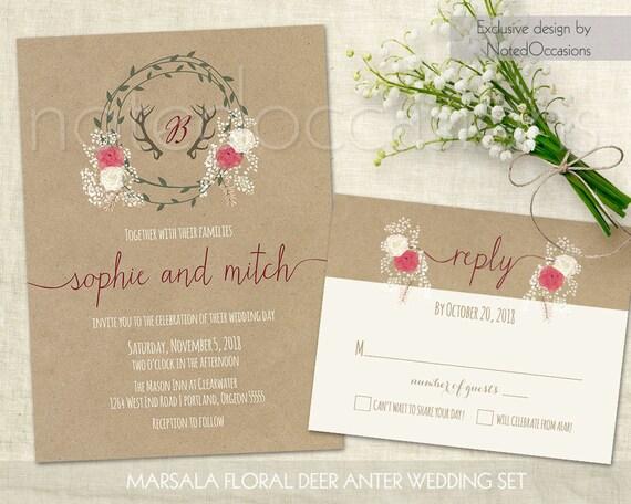 Deer Wedding Invitations: Rustic Wedding Invitation Printable Deer Antler By