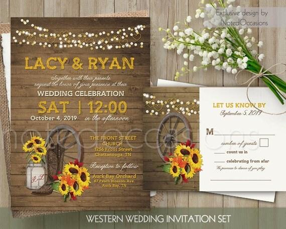 Western Wedding Invitations Templates: Western Wedding Invitation Set Printable Mason By