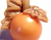 Vintage Button Cutest Realistic Weeber Celluloid Orange