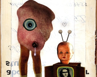 Original Mixed Media Collage on Wood - Self Portrait as a Young Lady - Weird Pop Surrealism Surreal Retro Vintage Middle School Nerd TV Art