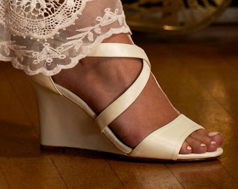 Wedding Shoes - Wedge Sandal- 250 Custom Colors, Womens Bridal Wedge Shoes, Wedge Wedding Shoes, Wedding Party Shoes, Bridesmaid Shoes