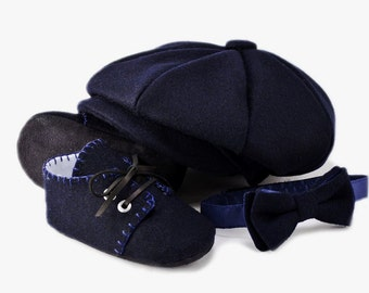 Baby Boy Hat Bow Tie and Shoes Set, Boy Ring Bearer, Baby Hat Set Wedding Hat, Christening Cap, Infant Cap, Handmade Baby Hats by pink2blue.