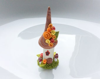 Miniature Autumn fairy house cup cake decoration in peach and green handmade from polymer clay