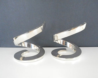 Two Vintage Dansk Designs France Candleholders Silverplated Pair Spiral Design by Bertil Vallien 1970s Scandinavian Modern Home Decor Table