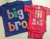 Big Bro Lil Sis Shirt Set - Sibling Shirts,  Brother Sister Set -Pregnancy Announcement, Big Brother Little Sister, Choose Color & Sleeve Le