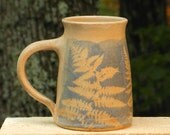 Arty Fern Mug, 23 oz. Collectable Handmade Stoneware,Microwave friendly