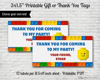 Lego Blocks Gift or Thank You Tags