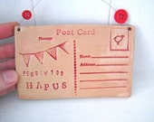 Penblwydd Hapus (Happy birthday in Welsh)- Ceramic postcard with vintage buttons. Made in Wales, UK.  Red