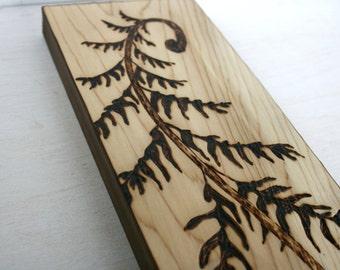 Woodland Fern -  Wood Art - Wood burning