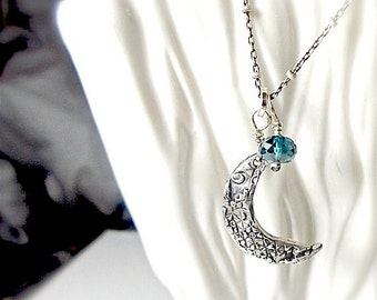 Handmade Silver Crescent Half Moon Necklace, London Blue Topaz , Sterling Jewellery, YourDailyJewels