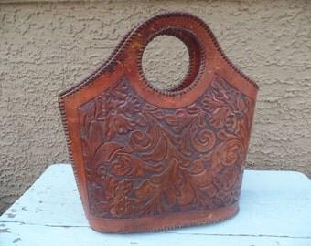 Vintage Leather Hand Tooled Purse Handbag