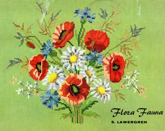 FLORA FAUNA Charted Cross Stitch Needlepoint Patterns Sweden DMC Colors