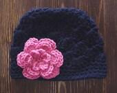 Girls Crochet Hat, Newborn Girl Hat, Navy and Pink Hat, Baby Girl Hat, Newborn Photography Prop, Girls Navy Hat, Baby Girl Beanie