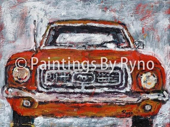 Orange Mustang - Art Print, Man Cave, Boys Room Art Print, Transportation Art Print, car art, Home Decor, Wall Art, Mustang, Classic Cars