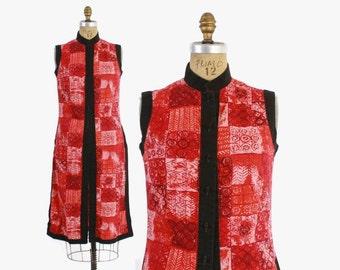Vintage 50s HAWAIIAN DRESS / 1950s Tribal Print Cotton Over Dress Layering Top S - M