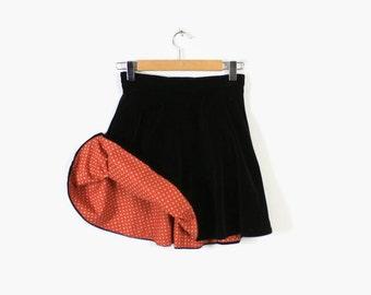 Vintage 50s SKATING SKIRT / 1950s Reversible Black Velvet & Red Cotton Ice Roller Skating Skater Mini Skirt S