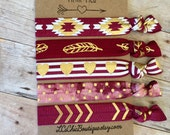 Boutique Hair ties FSU garnet and gold 5 pack - Seminoles Awesome Gift