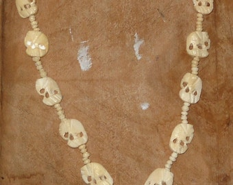 Ivory Colored Carved Bone Elephant Necklace with Beads- Costume Jewelry- Tribal - African