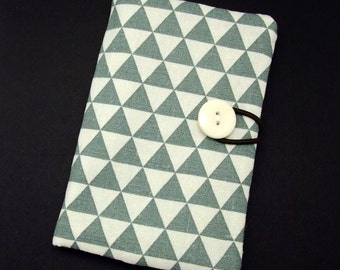Passport sleeve, passport cover, fabric passport case, pouch - Grey and white triangles (Ps14)