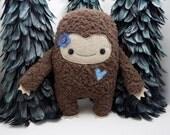Big Foot girl plush stuffed toy in blue, big foot plushie, kawaii big foot stuffed toy, monster stuffed animal, girlie monster, sasquatch