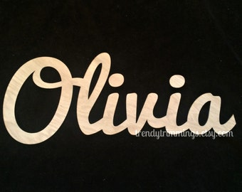 extra small wooden script name word or phrase cursive letters wooden letters for a wreath accent wall childs room or nursery unpainted