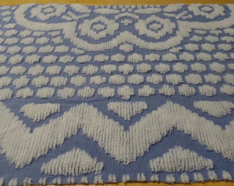 Azure Blue Chenille Fabric Piece, Vintage Chenille Fabric, Sewing Supplies, Chenille Pillow Fabric, Craft, Sewing, Quilt Fabric