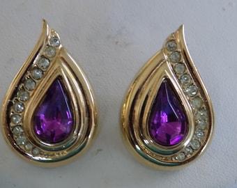 Elegant purple and clear crystals teardrop stud earrings, retro jewelry