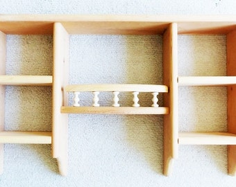 "Pine Wood Wall Display Shelf 30"" - Country 5 Compartment Vintage ON SALE"