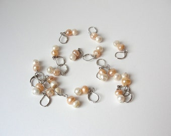 Stitch Markers for Knitting Crochet Stitch Markers removable stitch markers silver tone and pearl stitch markers