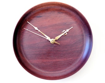 Purpleheart Wood Clock, Hand-turned, Turned Wood Clock