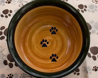 SALE!! Paw Print Bowl in Dark Green & Tan, Extra Deep
