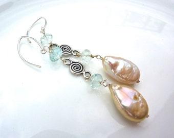 Ivory White Biwa Pearl with Aquamarine and Bali Silver Drop Earrings. Dangle Beadwork Earrings. Gemstone Jewelry.
